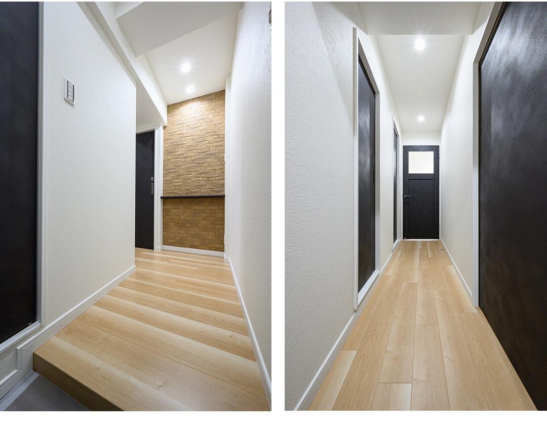 芝マンションの玄関と廊下