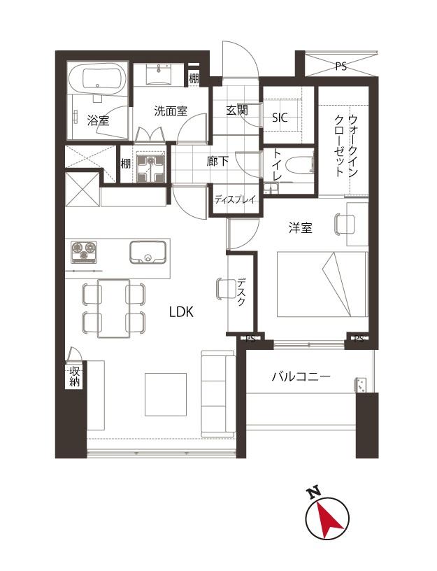 シティタワー麻布十番 すっきりした居住空間で、洗練された暮らし 間取り図