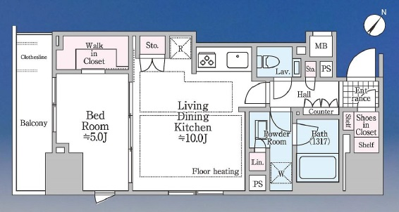 シティハウス目黒ザ・ツインSOUTH棟 最上階角部屋ですっきりと快適な暮らし 間取り図