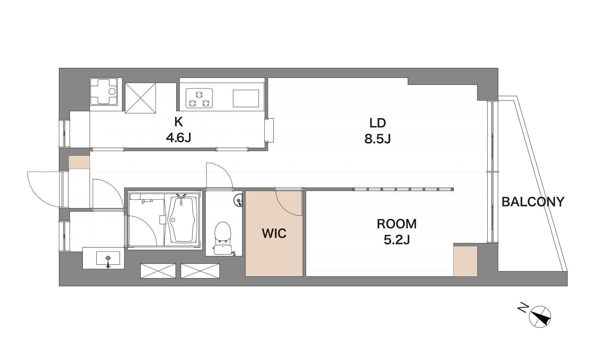 中目黒 最上階の開放的なリノベ空間 間取り図