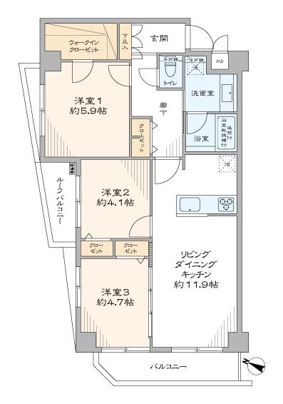 千川 全居室窓付きの、風を取り込む住まい 間取り図