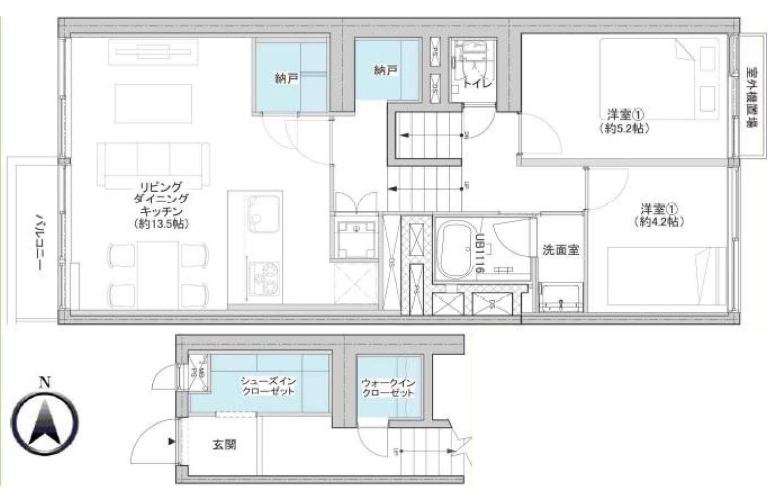 世田谷代田 3層構造メゾネットで空間を有効的に 間取り図
