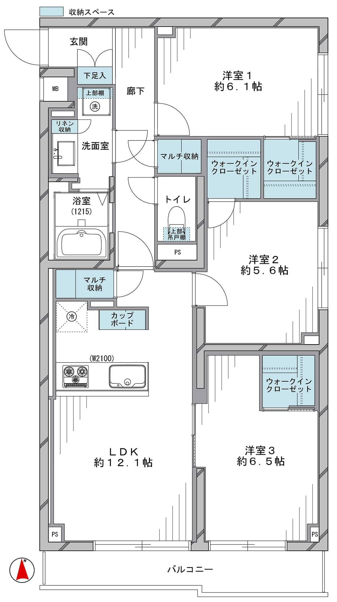 東中野 豊富な収納で住まいを整える 間取り図