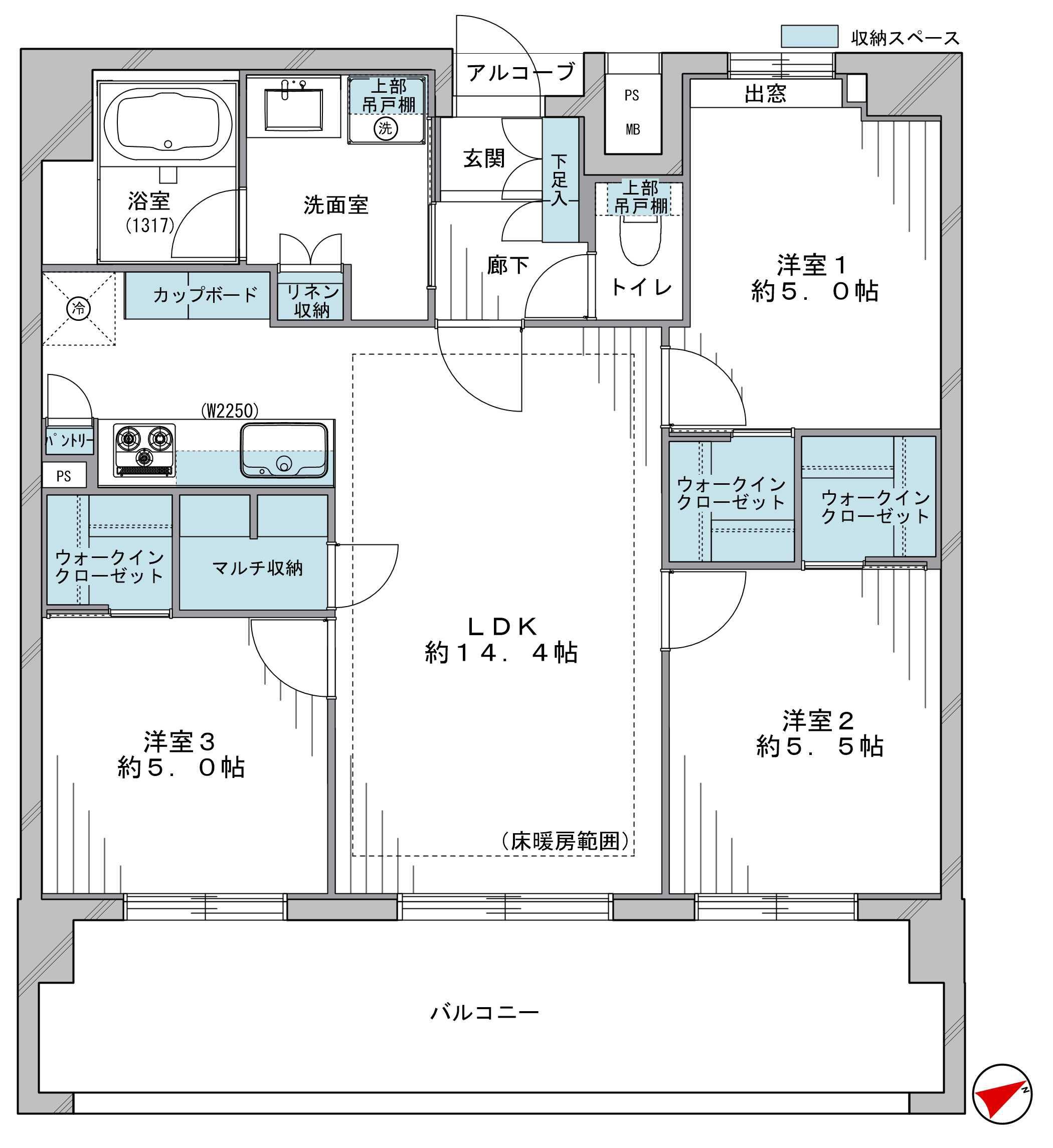 上野 各部屋にWIC付の充実した収納力 間取り図