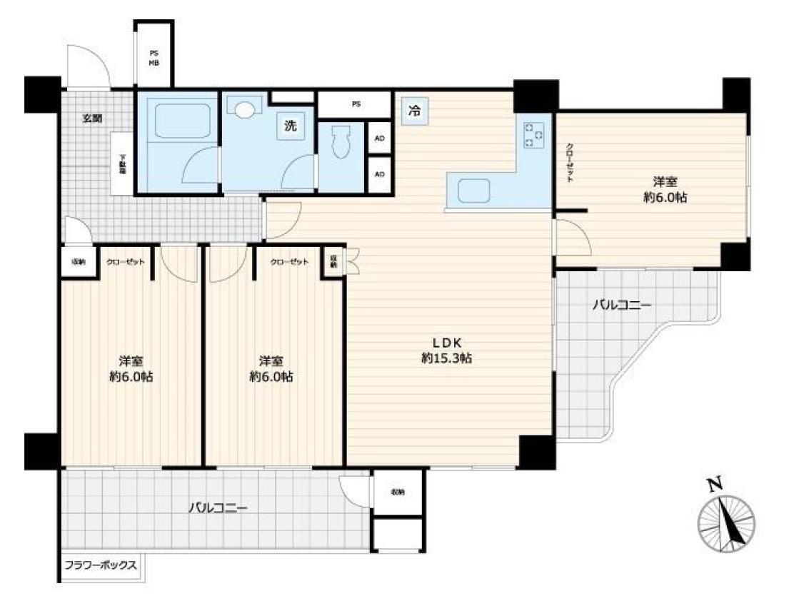 泉岳寺 光と風を呼び込む、最上階角部屋の住まい 間取り図