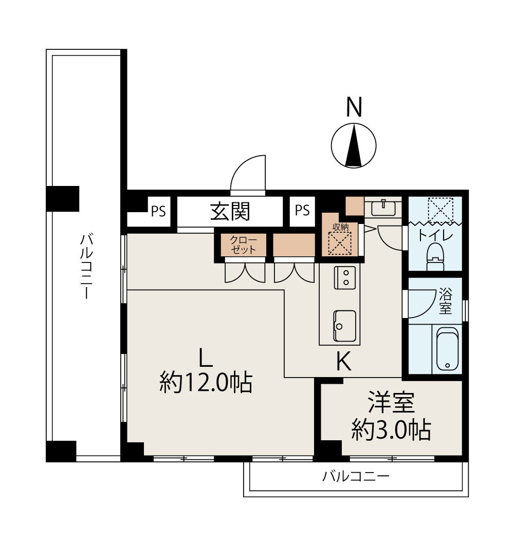 麻布十番 モダン空間で都会生活を満喫 間取り図