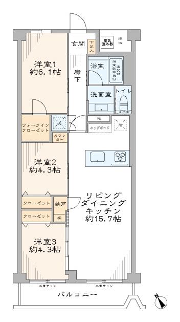 大崎 3駅6路線利用可でおでかけを気軽に 間取り図