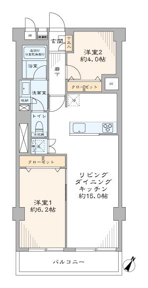 第2桜新町ヒミコマンション  南東向きで陽当たり良好。人気の「桜新町」に住む。