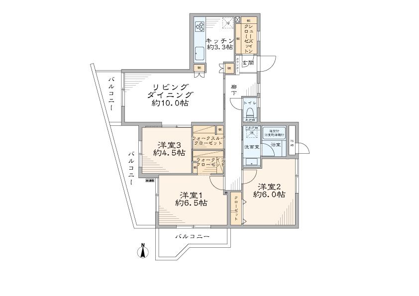 方南町 最上階角部屋で開放的に暮らす 間取り図