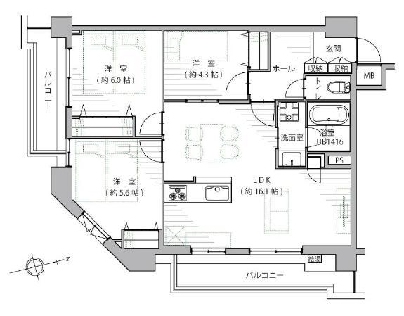 田町 リビングダイニングを中心に、会話が弾む空間 間取り図