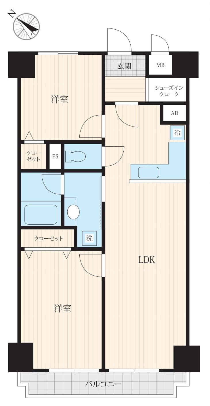 初台 駅から徒歩1分の暮らしやすい部屋 間取り図