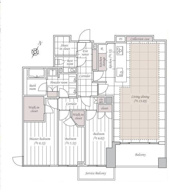 ディアナコート八雲桜樹 家事のモチベ―ションを高めるフルオーダーキッチン 間取り図