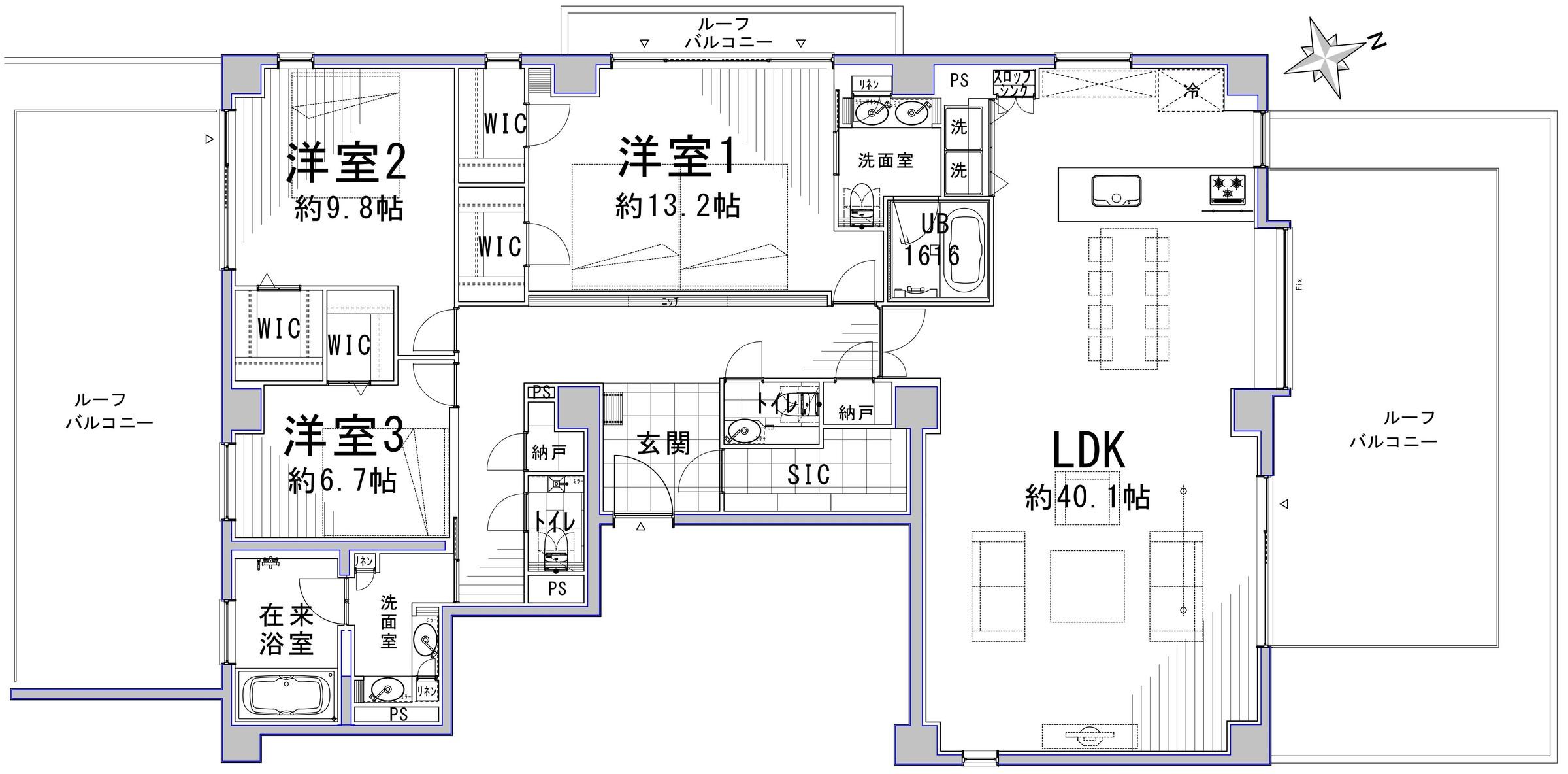 市ヶ谷 40帖超LDKと3面ルーフバルコニーで、開放感あふれる住まい 間取り図