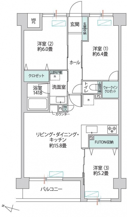 ガーデンホーム笹塚 自慢したくなるキッチン 間取り図