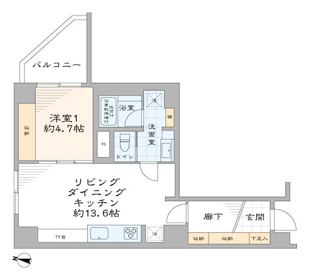 参宮橋 セレクトショッププロデュースのデザイン性の高いお部屋 間取り図