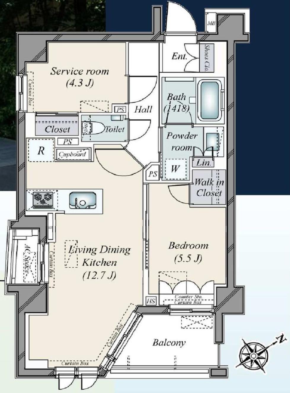 オープンレジデンシア代官山ザ・ハウス 冷暖房効果を高める複層ガラス 間取り図