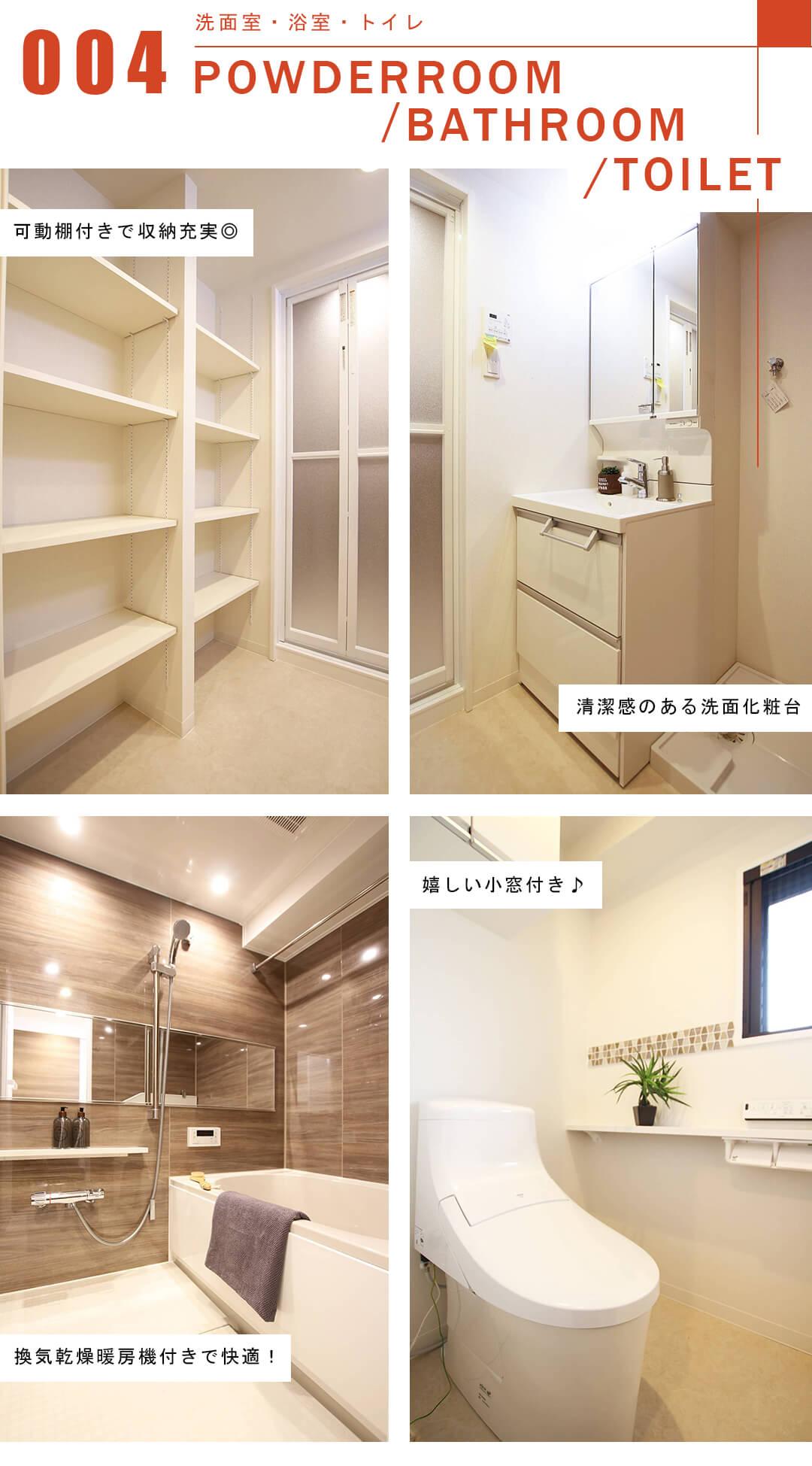 サンウッド目黒の洗面室と浴室とトイレ