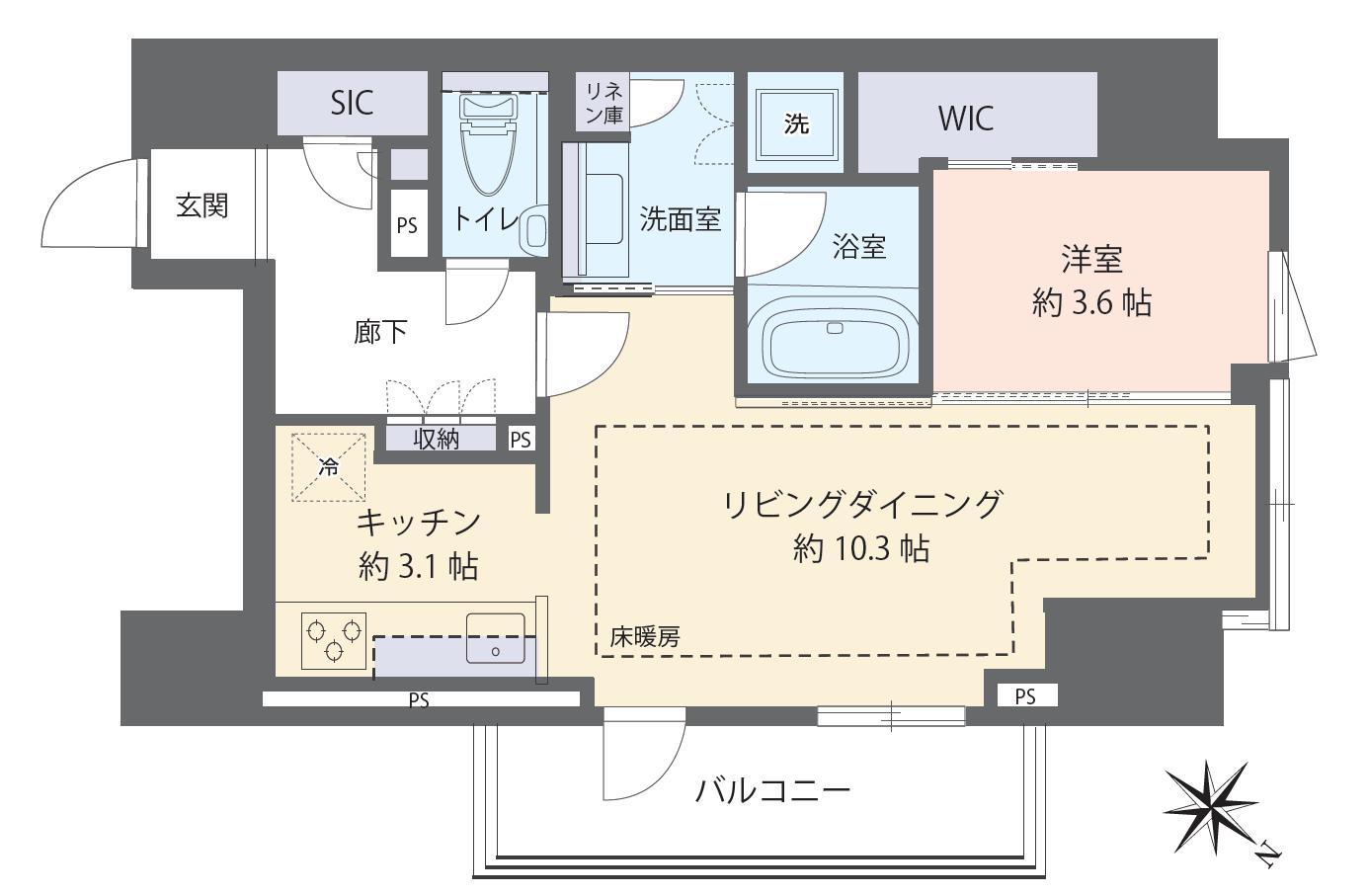 フォルム内藤町 ホテルライクな設備で、暮らしに豊かさを 間取り図