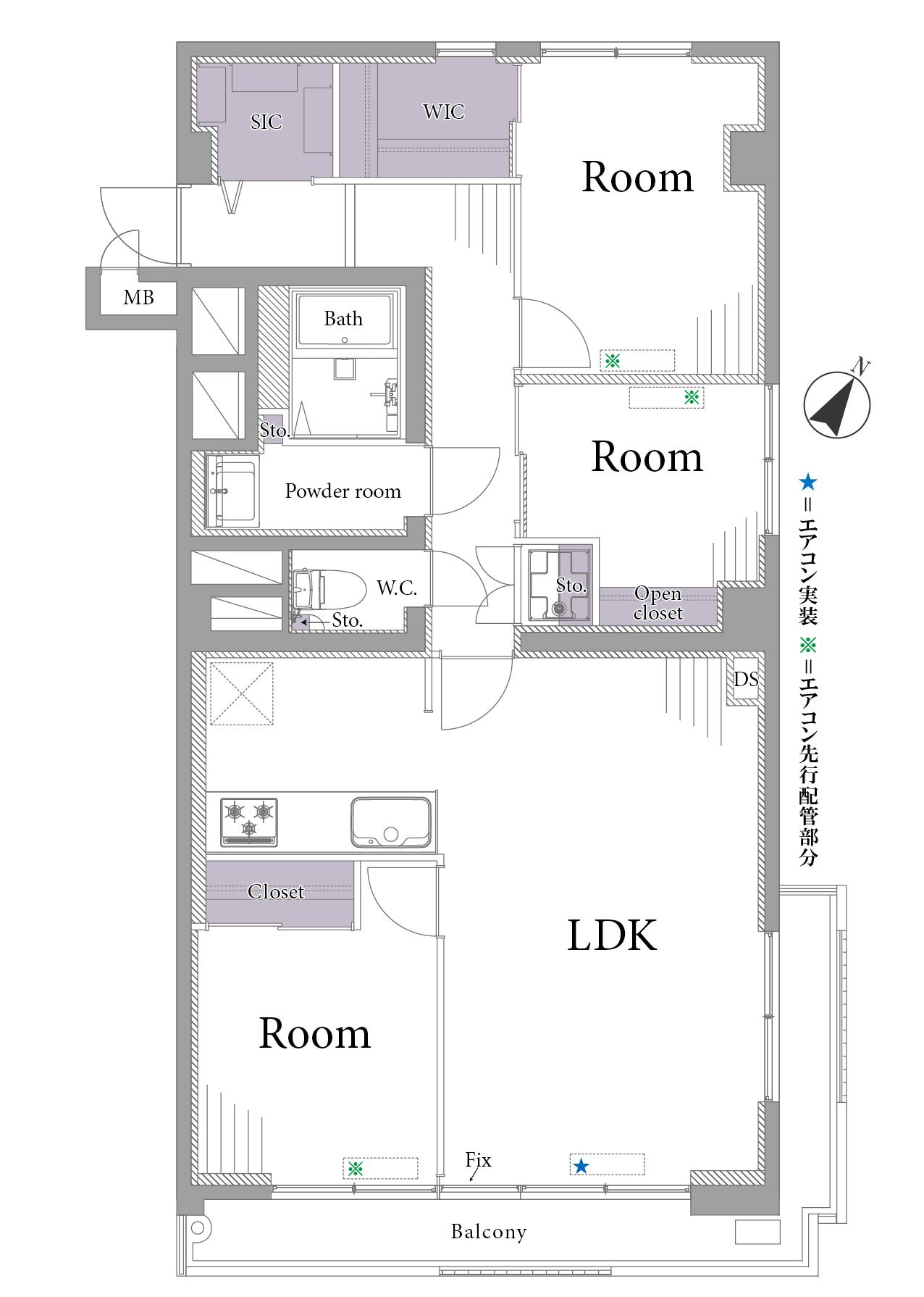 神泉 渋谷が徒歩圏内の開放的な三方角部屋 間取り図