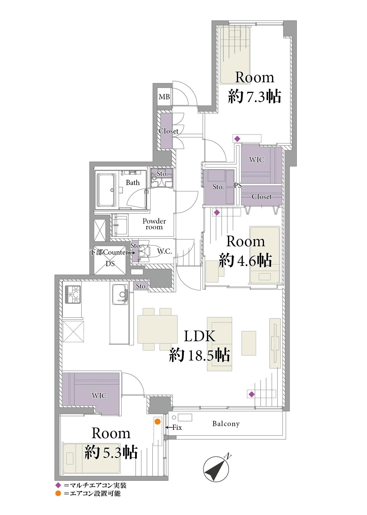 東新宿 豊富な収納スペースで、快適な暮らし 間取り図