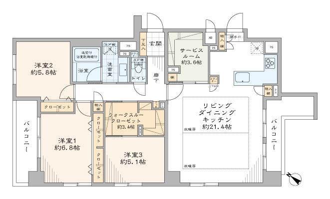 コンフィール日本橋アクアシティ 20帖超えのLDKで 、ゆとりあるひと時 間取り図
