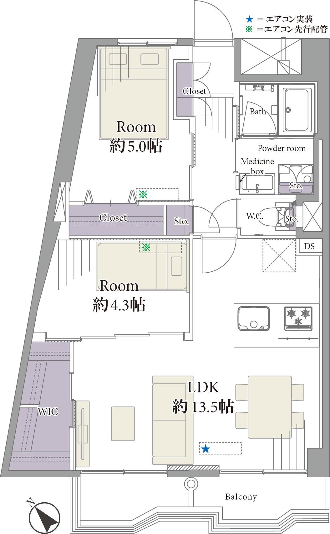 築地 隅田川テラス至近のリバーサイドマンション 間取り図