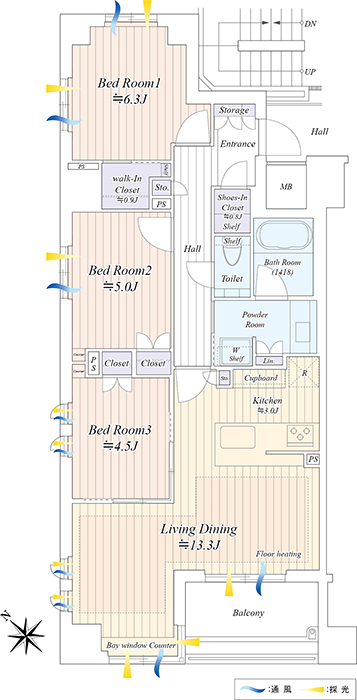 ザ・パークハウス茗荷谷 緑に囲まれ、開放的に 間取り図