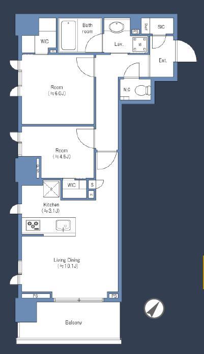 ルフォン白金台ザ・タワーレジデンス 駅から徒歩1分、19階にあるペットと暮らせる部屋 間取り図