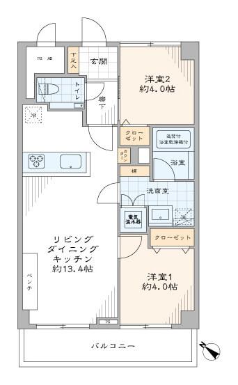 五反田 高級住宅地に佇むモダンな部屋 間取り図