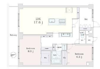 ニューローレルマンション アイランドキッチンで開放的に 間取り図