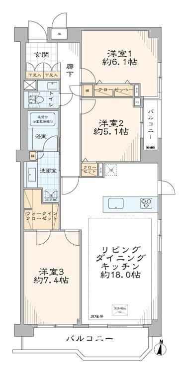 パーク・ハイム中野富士見町 最上階角部屋、さわやかな光を導くリビングダイニング 間取り図
