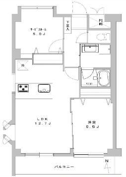ナザレンハイツ三軒茶屋 グレートーンで落ち着いた雰囲気の部屋 間取り図