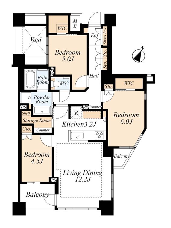 ブリリア東中野パークサイドヒルズ 新築未入居の東南角部屋 間取り図