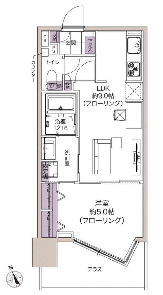 渋谷常磐松ハウス ペットと過ごせる、テラス付きの1LDK 間取り図