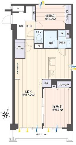 初台 空間を分けた暮らしやすい部屋 間取り図