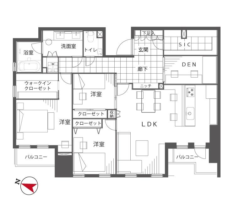 乃木坂 緑に囲まれ、快適でホテルライクな暮らし 間取り図