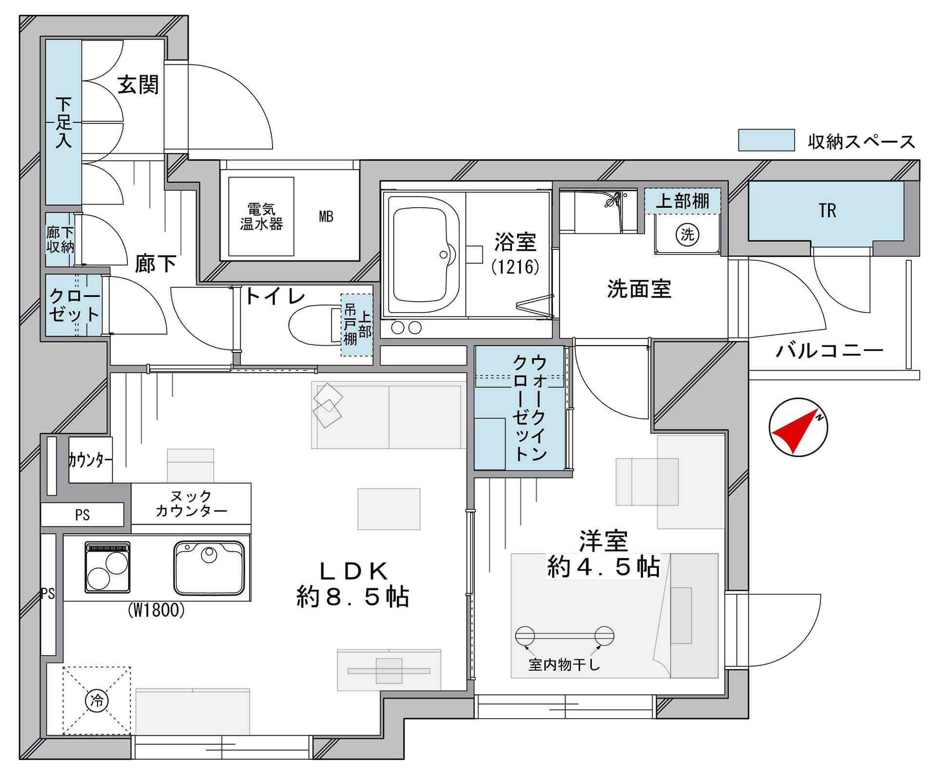茅場町 どこへ行くにも便利「東京」駅が徒歩圏内 間取り図