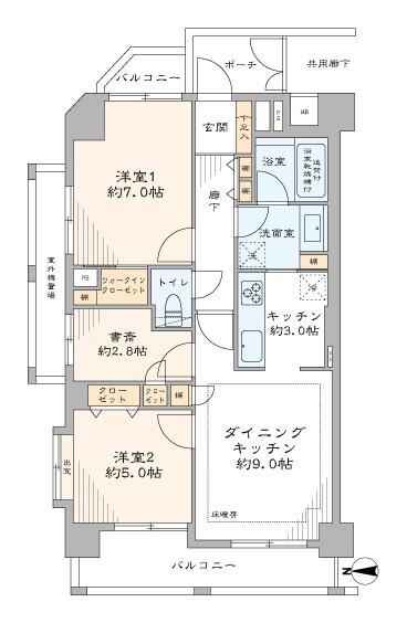 飯田橋 リモートワークに使える書斎付き 間取り図