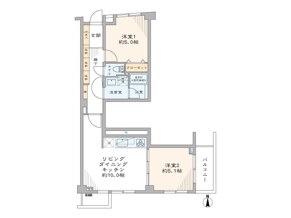 学芸大学 駅近で便利な東南角部屋 間取り図