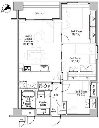 水天宮前 駅近で家具付きの3LDK 間取り図