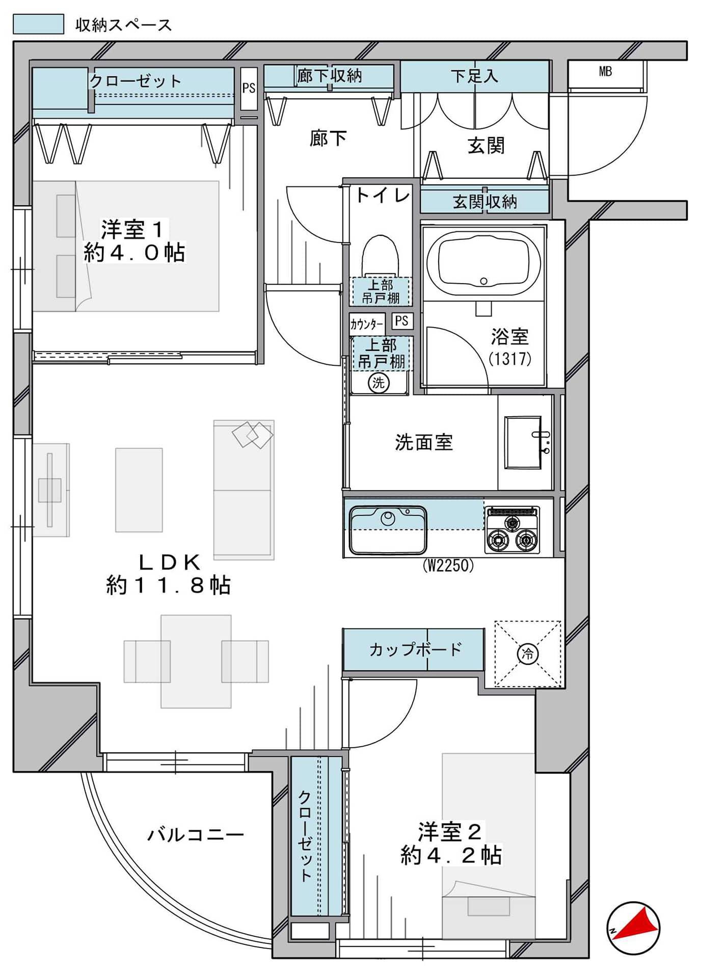 浅草橋 豊富な収納で空間を広々有効活用 間取り図
