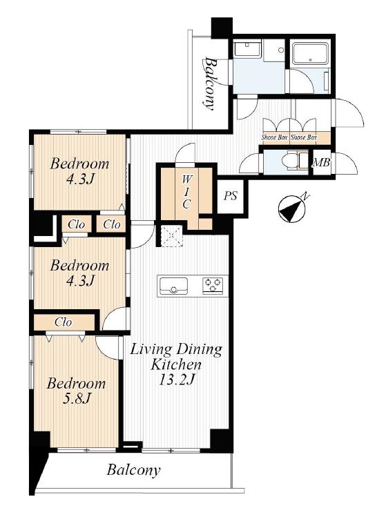蔵前 最上階角部屋、東京スカイツリーが望める部屋 間取り図